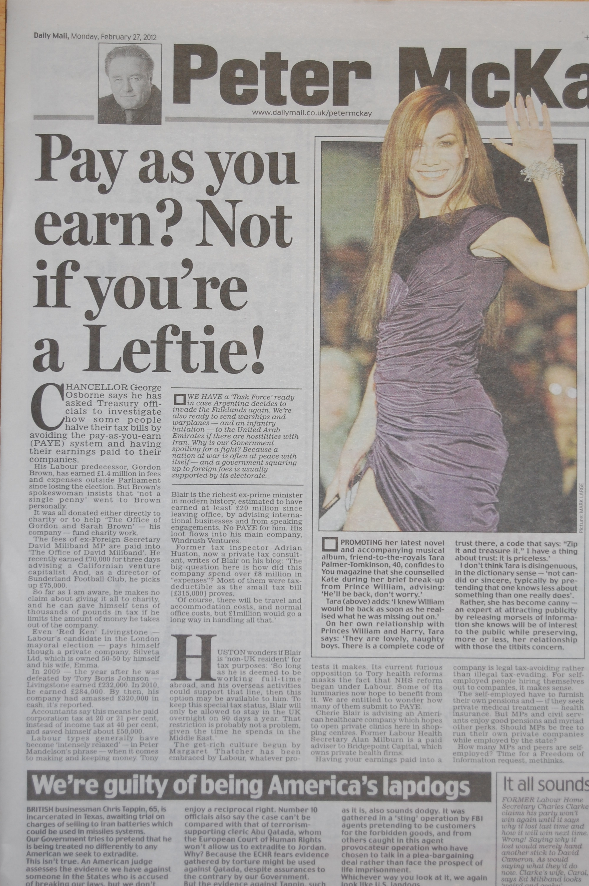 Huston article on Tony Blair's tax quoted in daily mail